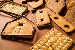 Baked gingerbread Cottage components Stock Image