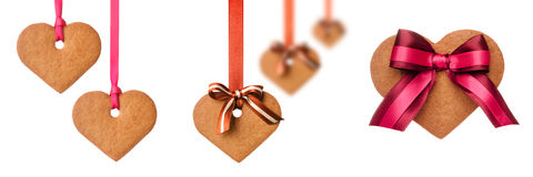 Baked gingerbread heart cookies Stock Photo