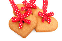 Baked gingerbread hearts Royalty Free Stock Images