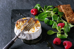 Baked Goat cheese with honey and raspberries. Grilled goat cheese served on black slate board with liquid honey, lavender, raspberries, wholegrain toast and Stock Photography