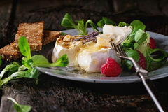Baked Goat cheese with honey and raspberries. Melting sliced grilled goat cheese on blue plate, served with liquid honey, lavender, raspberries, wholegrain toast royalty free stock photography