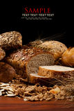 Baked goods. Assortment of baked goods in black background Royalty Free Stock Images