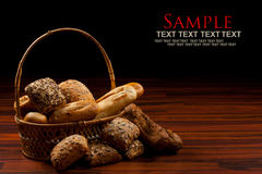 Baked goods. Assortment of baked goods in black background Royalty Free Stock Image