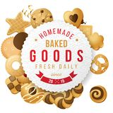 Baked goods label with type design Royalty Free Stock Images