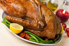Baked Goose with green beans,potatoes Stock Photos