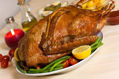 Baked Goose with green beans,potatoes Royalty Free Stock Photo