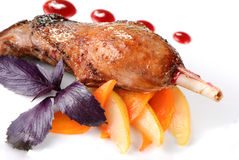 Baked goose leg Royalty Free Stock Images
