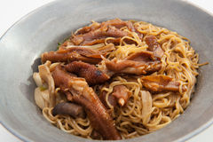 Baked goose webs with noodles Stock Photos
