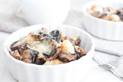 Baked gratin of cheese, mushrooms and potato Royalty Free Stock Photo