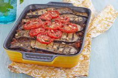Baked gratin with ground meat and eggplants Stock Photos