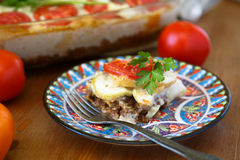 Baked gratin with ground meat and grilled eggplants Stock Photography