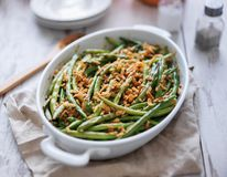 Free Baked Green Bean Casserole Topped With French Fried Onions Stock Images - 143864374