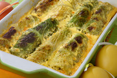 Baked green cabbage in dough Royalty Free Stock Photo