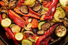 Baked or grilled vegetables mushrooms and red paprika, eggplant, vegetable marrow, tomato Royalty Free Stock Photography
