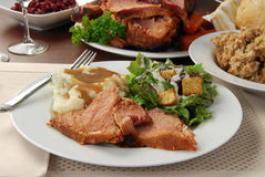 Baked ham and mashed potatoes Royalty Free Stock Image