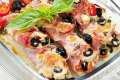 Baked ham rolls Royalty Free Stock Images