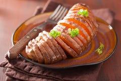 Baked hasselback potato Royalty Free Stock Image