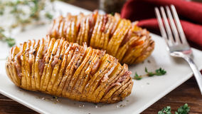 Baked Hasselback Potatoes Royalty Free Stock Image