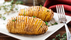 Baked Hasselback Potatoes Stock Images