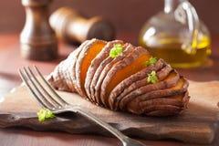 Baked hasselback potatoes Stock Image