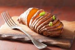 Baked hasselback potatoes Royalty Free Stock Photo