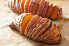 Baked hasselback potatoes Royalty Free Stock Images
