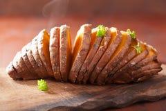 Baked hasselback potatoes Royalty Free Stock Image