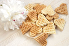 Baked heart waffles Royalty Free Stock Photo