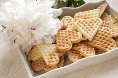Baked heart waffles Royalty Free Stock Photography