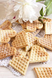 Baked heart waffles Stock Photos