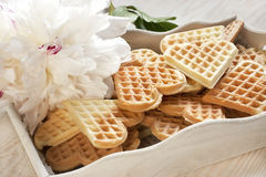 Baked heart waffles Royalty Free Stock Photos