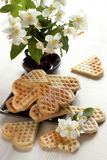 Baked heart waffles Stock Photography