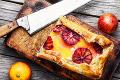 Baked home cheesecake with oranges Royalty Free Stock Images