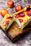 Baked home cheesecake with oranges Stock Images
