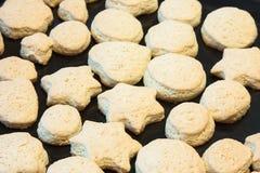 Baked homemade cookies  on a baking sheet Stock Photos