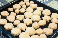 Baked homemade cookies  on a baking sheet Stock Images