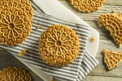 Baked Homemade Crispy Pizzelles. In a Stack Royalty Free Stock Photography