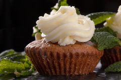 Baked homemade muffins. Baked homemade cupcakes with chocolate and mint Stock Images