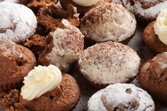 Baked homemade muffins. Baked homemade cupcakes with cream, sugar and chocolate powder Stock Images