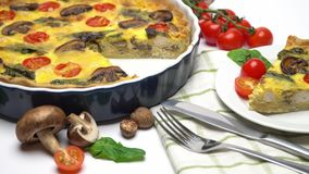 Baked homemade quiche pie in ceramic baking form stock footage