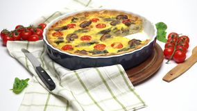 Baked homemade quiche pie in ceramic baking form stock video footage