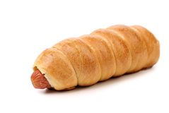 Baked hot dog. Close up. White background stock image