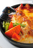 Baked hotpan cheese pork Stock Images