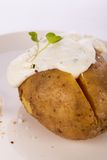 Baked jacket potato with sour cream sauce Royalty Free Stock Photos