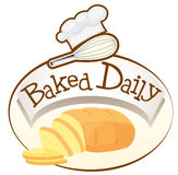 A baked daily label with bread Stock Photo