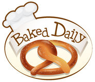A baked daily label with a twisted bread Stock Photos