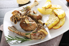 Baked lamb with potatoes Royalty Free Stock Photos