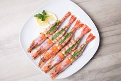 Baked langoustines on a white plate. royalty free stock images