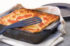 Baked lasagna casserole Royalty Free Stock Images