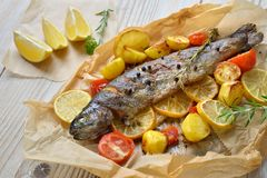 Baked Lemon Trout Royalty Free Stock Photography